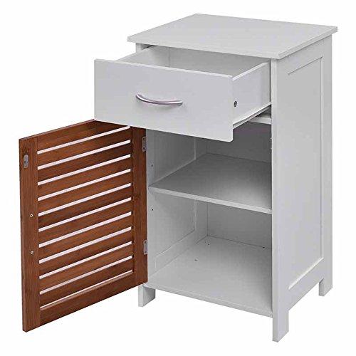 WATERJOY Storage Cabinet, Wooden Floor Cabinet Shutter Door Drawer, Elegant Bedside Cabinet Bathroom, Bedroom Living Room, White by WATERJOY (Image #2)