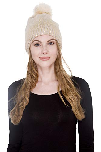 Janice Apparel Women's Sherpa Lined Winter Plain Color Cable Knit Beanie Hat with Metallic Gold/Silver Print and Faux Fur Pom Pom (Beige Gold)