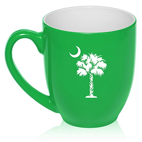 16 oz Large Bistro Mug Ceramic Coffee Tea Glass Cup Palmetto Tree South Carolina Palm Moon (Green)