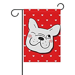 My Little Nest Pug Dog with Little Hearts Red Garden Flag Double Sided Fade Resistant Polyester Holiday Decorative House Flag Banner 12x18