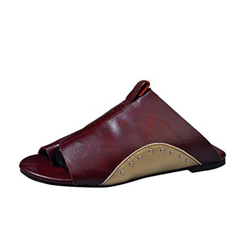 De Fond Fourrure Talons Femmes À sandales Sandale Beautyjourney Plat Plage Doré Femme Romaines Tongs Brown Femme Sandales Mules Ig7AqwU