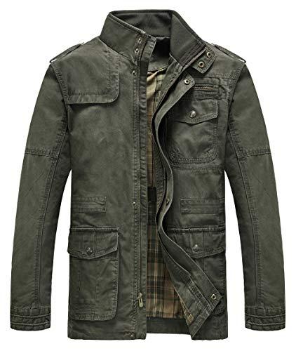 (Heihuohua Men's Cotton Stand Collar Lightweight Military Windbreaker Jacket, Armygreen, US)