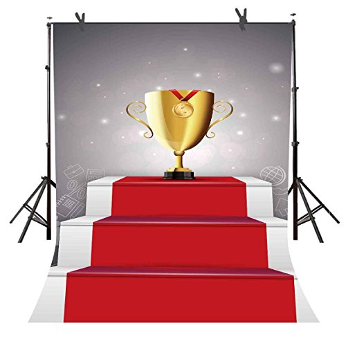ST 6X9FT Gold Trophy Photography Backdrop Red Carpet Picture for Children Adult Party Background Wedding Party or YouTube Backdrop Props TMST064