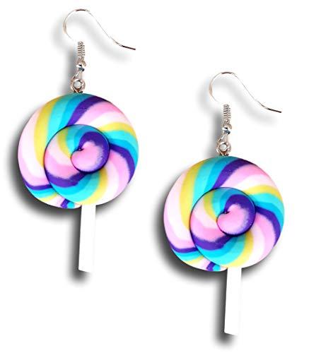 Colorful Rainbow Lollipop Candy Ice cream Dangle Kawaii Earrings by Pashal (Purple Pastel Swirl)