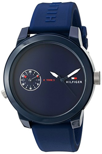 Tommy Hilfiger Men's Plastic and Rubber Casual Watch Quartz Strap, Blue (Model: 1791325)