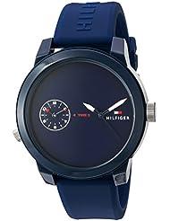 Tommy Hilfiger Mens Denim Quartz Plastic and Rubber Casual Watch, Color:Blue (Model: 1791325)