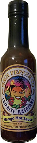 Chipotle Raspberry Mango Hot Sauce from Maui Pepper Co. | Made with vinegar sugar apple juice raspberries mangoes honey chipotle peppers and other spices (5 floz) (Bbq Sauce Raspberry)