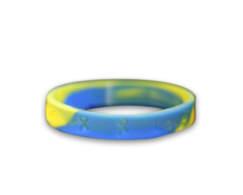 Fundraising For A Cause Down Syndrome Awareness Blue & Yellow Silicone Bracelet - Adult Size - (1 Bracelet - Retail)
