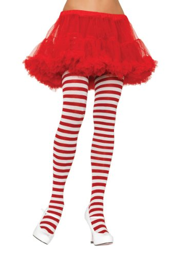 Leg Avenue Women's Plus-Size Striped Tights, White/Red, Plus Size