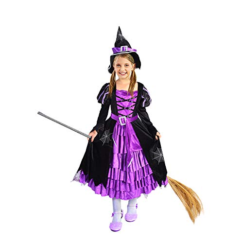 Twister Girl Halloween Costume (Twister.CK Witch Costume Halloween Party Fancy Dress Up Deluxe Set with Hat Skirt for Girls (M)