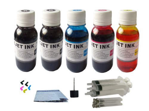 ND TM Brand Dinsink: 5X4OZ(1 Pigment Black + 4 Dye BK C M Y) refill ink kit for Canon PGI-5BK CLI-8: Pixma ip3300 PIXMA iP3500 PIXMA iP4200 PIXMA iP4300 PIXMA iP4500 PIXMA iP5200 PIXMA iP5200R PIXMA MP500 PIXMA MP510 PIXMA MP520 PIXMA MP530 PIXMA MP600 PIXMA MP610 PIXMA MP800 PIXMA MP800R PIXMA MP810 PIXMA MP830 PIXMA MP950 PIXMA MP960 PIXMA MP970 PIXMA MX700 PIXMA MX850 ... With 5 syringes ,5 Plugs and Drill.The item wiht ND Logo! - Ip4200 Ink Refill