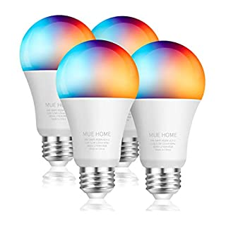 Smart WiFi 2.4 Ghz (NOT 5 Ghz) A19 Light Bulb, Dimmable LED + RGB Multicolor Changing, Work with Alexa, Google Home (No Hub Required), E26 Base 9.5W, UL Listed by Mue Home, 4 Pack