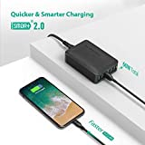 RAVPower 60W 12A 6-Port USB Charger Desktop Charging Station with iSmart, Compatible with iPhone Xs XS Max XR X 8 7 Plus, iPad Pro Air Mini, Galaxy S9 S8 S7 S6 Edge, Tablet and More (Black)