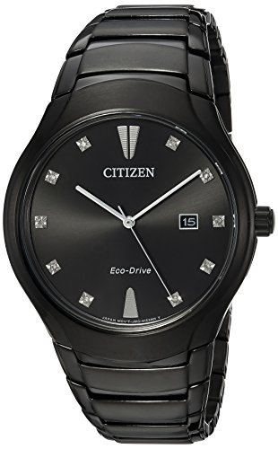 Citizen Men's 'Eco-Drive' Quartz Stainless Steel Casual Watch, Color:Black (Model: AW1555-56G)