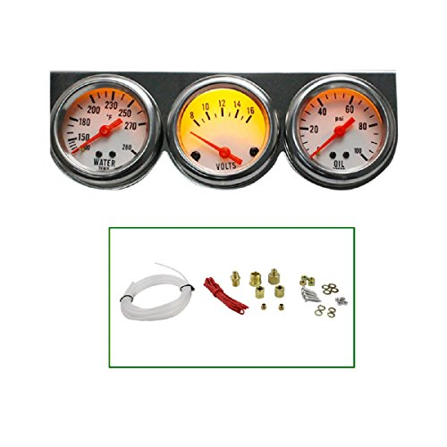 ixaer Triple Gauge Kit-Universal 50mm Chrome Oil Pressure Water Volt Triple 3 Gauge Set Gauges Kit (Chrome Water Temperature Gauge)