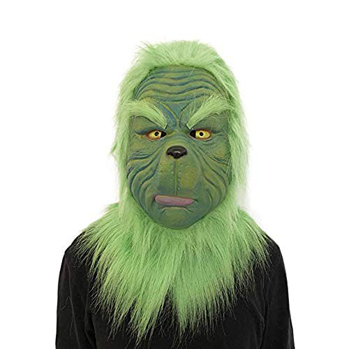 Cinhent Toys 2018 Popular Cosplay Grinch Christmas Decoration Green Monster Mask Melting Face Latex Costume Collectible Prop Scary Mask Toy, Adults Role Play Gifts, Funny and Horrible]()