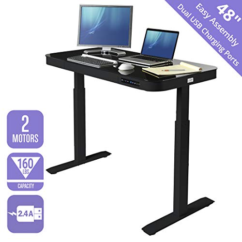 Seville Classics Airlift Tempered Glass Electric Standing Desk with Drawer, 2.4A USB Ports, 3 Memory Buttons (Max. Height 47') Dual Motors, Black Top, Black, Black
