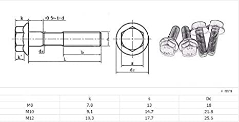Grade 10.9 Hex Flange Screws Frame Bolts Flanged Hex Head Bolts M6 M8 M10 M12 (Full Thread and Partial Thread