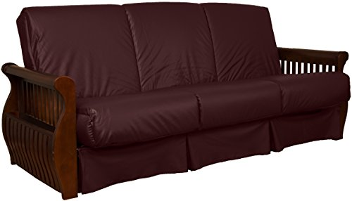 Laguna Perfect Sit & Sleep Pocketed Coil Inner Spring Pillow Top Sofa Sleeper Bed, Full-size, Walnut Arm Finish, Leather Look Bordeaux Upholstery (Bordeaux Full Futon Set)