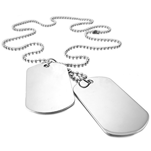 (INBLUE Men's 2 PCS Alloy Pendant Necklace Silver Tone Army Double Dog Tag 27 Inch Chain)