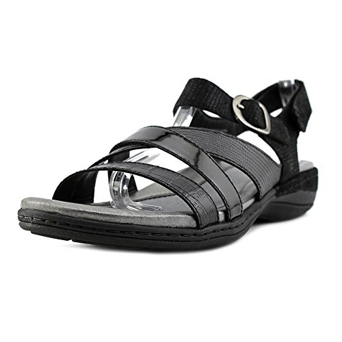 Aster Black Leather (Earth Women's Aster Ankle Strap Sandal,Black Crocodile Print Leather,US 6 W)