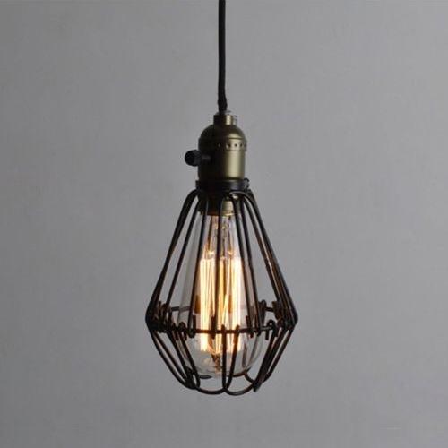 vintage birdcage pendant light chandelier rust wire cage light