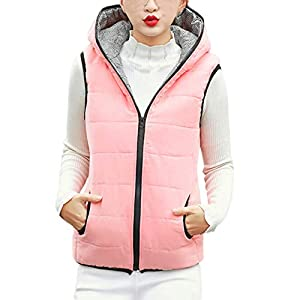 FEDULK Womens Hooded Jacket Winter Warm Coat Slim Parka Pocket Outwear Vest