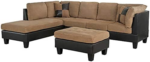home, kitchen, furniture, living room furniture,  living room sets 4 image 3-Piece Modern Reversible Microfiber / Faux Leather Sectional in USA