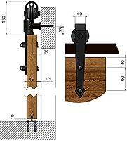 Sistema de puerta corredera, forma de flecha, 200 cm, juego completo con ruedas y riel, sistema de puerta corredera de 2 metros, forma de flecha - Arrow Black: Amazon ...