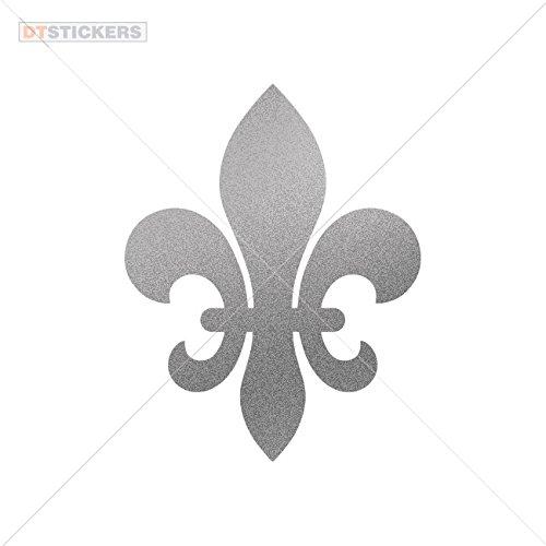 Decal Vinyl Fleur De Lis Royalty Siz Car window jet ski (5 X 3,92 In. ) Matte Metallic Silver -
