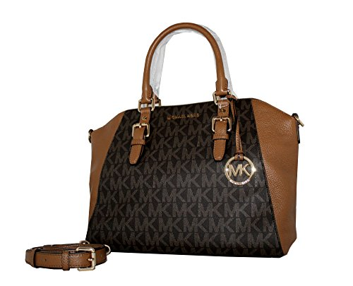 MICHAEL Michael Kors Ciara Large Top Zip Handbag Leather Satchel (Brown/acorn) by MICHAEL Michael Kors