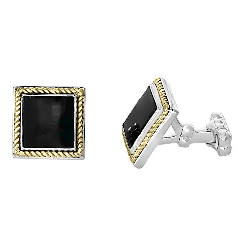 - Effy Men's 925 Sterling Silver and 18K Yellow Gold Onyx Cufflinks, 3.06 TCW