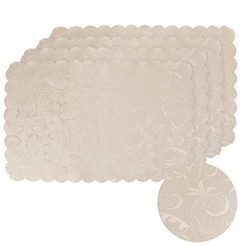 voyokoco Irregular Place Mats Water Resistant Placemat for Dining Table Hotel Restaurant Table Placemats Set of 4 - Light Champagne
