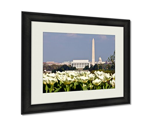 Ashley Framed Prints, Washington Dc Skyline With Lincoln Memorial Washington Monument And The Capitol, Wall Art Decor Giclee Photo Print In Black Wood Frame, Ready to hang, 16x20 Art, - Mall Federal Way