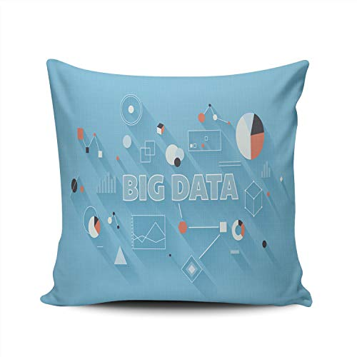 MUKPU Pillow Covers Big Data Statistics Technology Large Database Throw Pillow Case Hidden Zipper Decorative Custom Pillow Cases Double Sides Printed Square 18x18 Inches -