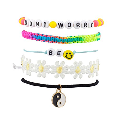 [Don't Worry Be Happy Smile Peace Yin Yang Floral Flower Rainbow Arm Candy Bracelet Set] (Arm Candy Costume)