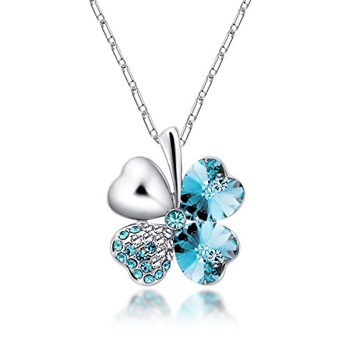 [The Starry Night Lucky Four Leaf Clover Sea Blue Crystal Pendant Diamond Accented Silver Plated Flower Necklace] (Rugged Texas Star Knob)