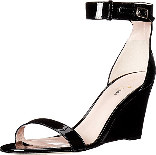Kate Spade New York Women's Ronia Black Patent Sandal 8.5 (Kate Spade Patent Leather Shoes)