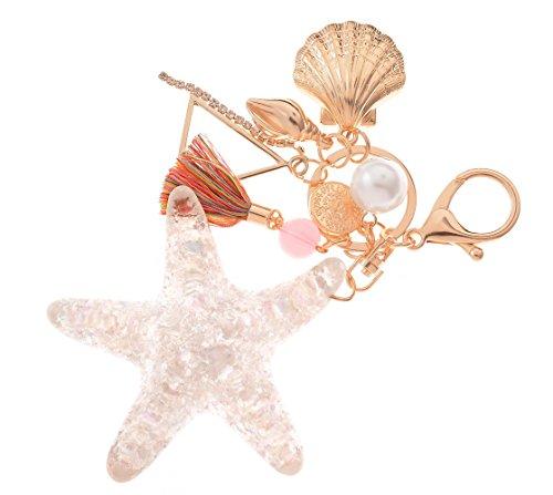 Giftale Starfish Keychain for Women,Alloy Shell with Tassel Keychain Car Bag ()