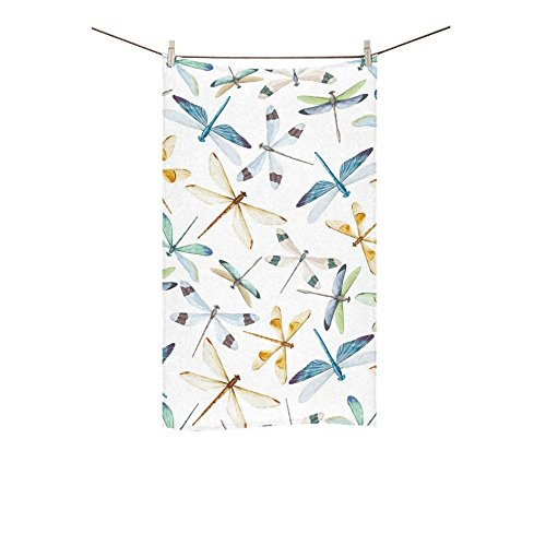 InterestPrint Soft and Absorbent Hand Towel Beautiful Dragonflies Design Bath Bathroom Shower Custom Towels