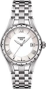 ساعة تي 072 كوارتز بمينا ابيض وسوار من الفولاذ للنساء من تيسوت - T072.210.11.118.00