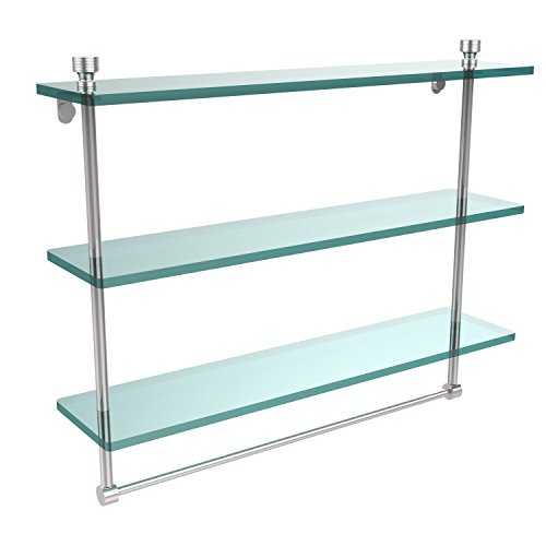 Allied Brass FT-5/22TB-PC Foxtrot Collection 22 Inch Triple Tiered Glass Shelf with Integrated Towel Bar, Polished Chrome