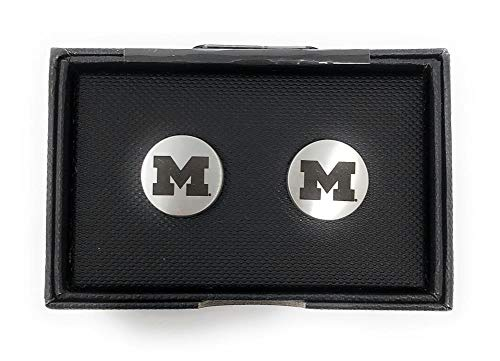 Laser Engraved Gifts University of Michigan Wolverines Cuff Links Silver Cufflink Set ()