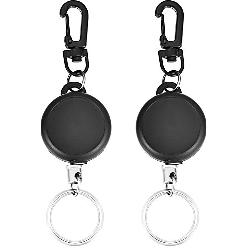 Hestya Retractable Key Chain Heavy Duty Key Reel with 23 inch Steel Wire Rope for ID Badge Holder, Black (2)