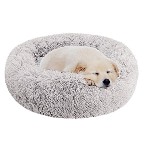 Dog Donut Bed Luxury (H&ZT Luxury Round Dog Cushion Beds Shag Fuax Fur Donut Cuddler,Self-Warming and Cozy for Improved Sleep,Machine Washable (23.6x23.6, Grey))