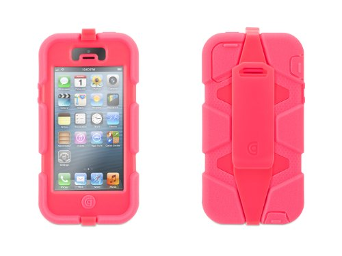 Toughskin Mini - Griffin 605255-SFFP Survivor Case for iPhone 5/5S - 1 Pack - Retail Packaging - Fluro Fire Pink