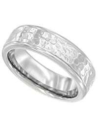 Surgical Steel Ladies Wedding Band Ring 6mm Shiny Hammered finish Comfort fit, sizes 5 - 9 with half sizes