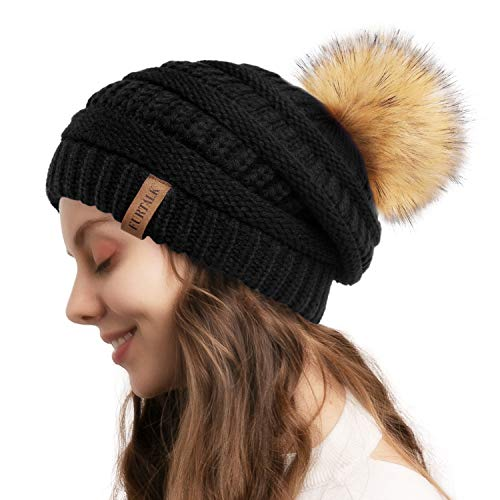 FURTALK Womens Winter Knit Beanie Hat Skull Cap Slouchy Beanie Pom Pom Hats for Women