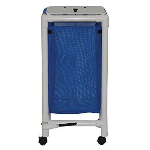 "MJM International E214-S-2TW-FP Echo Single Hamper with Foot Pedal, 14.46 oz Capacity, 37.5"" Height x 18"" Length x 22.5"" Width, Royal Blue/Forest Green/Mauve"