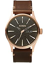 Nixon A105 2001 Mens Sentry Leather Watch Rose Gold / Gunmetal / Brown